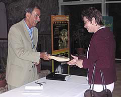 Hunter signing books after the Lecture