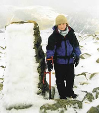 Ellen on Scafell Pike completing the 214