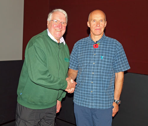 Peter Linney presenting Alan Hinkes with Honorary Membership of The Wainwright Society